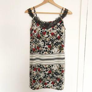 Topshop floral rose lace slip dress sz 2